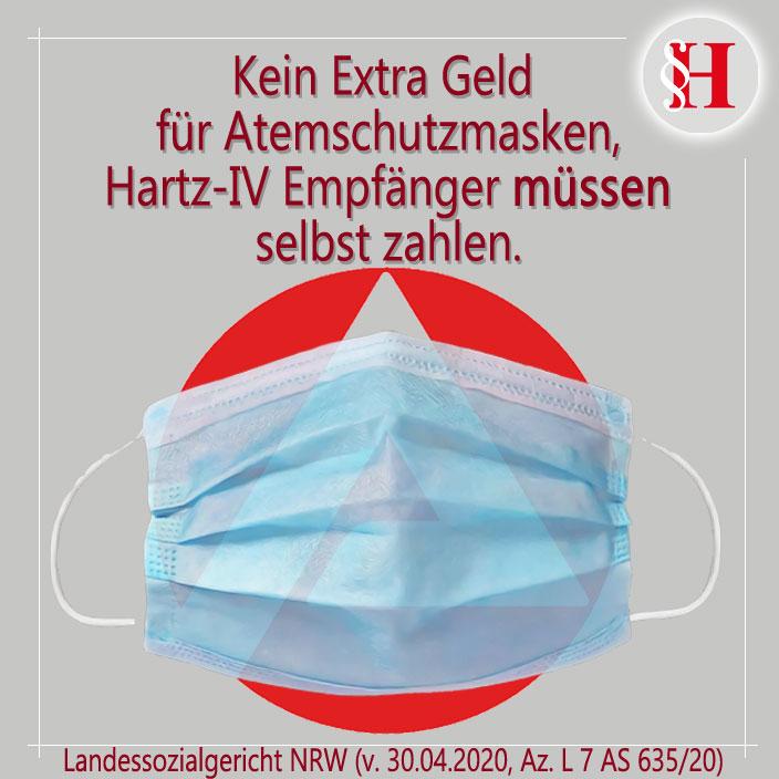 Job Center mit Atemschutzmaske. Hartz-IV Empfänger müssen Kosten selbst tragen.
